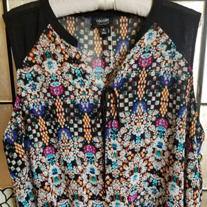Nicole Miller Black Diamond Pattern Blouse Top XL